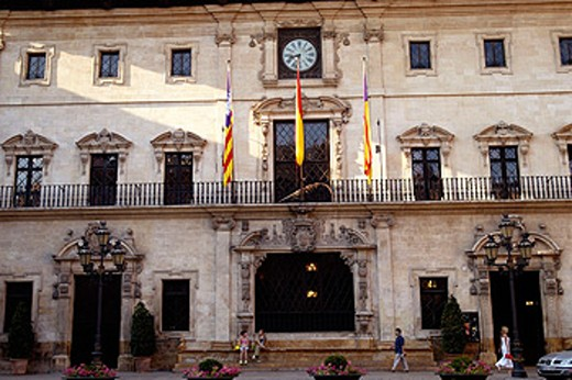 Town Hall at Plaça de Cort. Palma de Mallorca. Majorca, Balearic Islands. Spain : Stock Photo