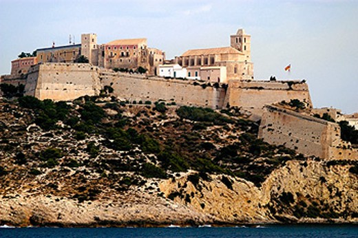 Stock Photo: 1566-0116420 Dalt Vila seen from ship. Ibiza. Balearic Islands. Spain