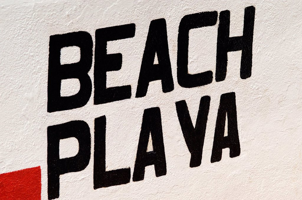 Stock Photo: 1566-0116436 Beach sign. Ibiza. Balearic Islands. Spain