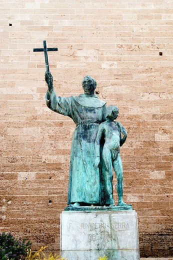Fray Junipero Serra, evangelist of California in Convent de Sant Francesc. Palma de Mallorca. Majorca. Balearic Islands. Spain : Stock Photo