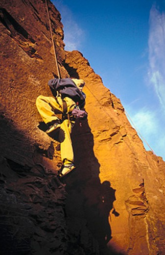 Climbing ´Medicine Man´ route. The Feathers, Frenchman´s Coulee. Washington, USA : Stock Photo