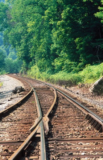 CSX rail line siding turnout in New River George. Fayette County. West Virginia, USA : Stock Photo