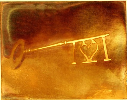 Stock Photo: 1566-0122325 Solid brass key with heart dessign on tip
