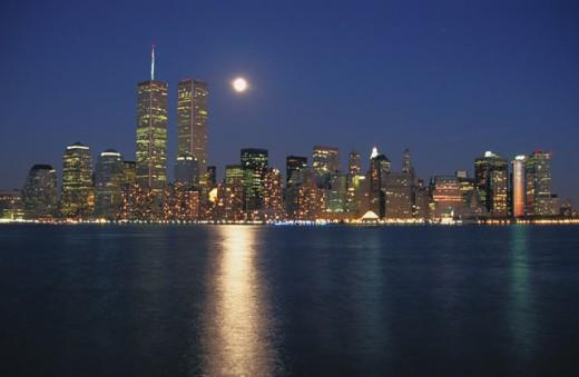 Hudson River and Manhattan. New York City. USA : Stock Photo