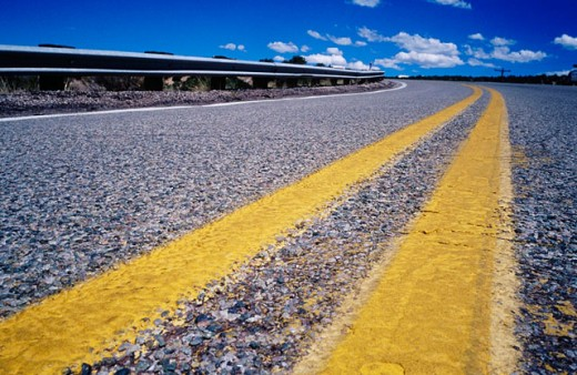Road stripe in New Mexico. USA : Stock Photo