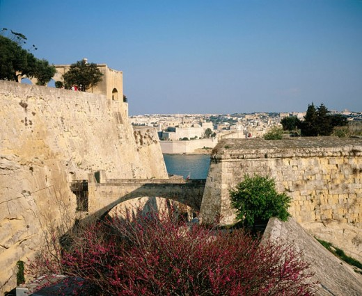 View through fortifications to fort St. Angelo at Grand Harbour. La Valletta. Malta : Stock Photo