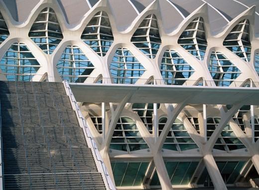Stock Photo: 1566-0126458 Detail of Museo de las ciencias Príncipe Felipe. City of Arts and Sciences, by S. Calatrava. Valencia. Spain