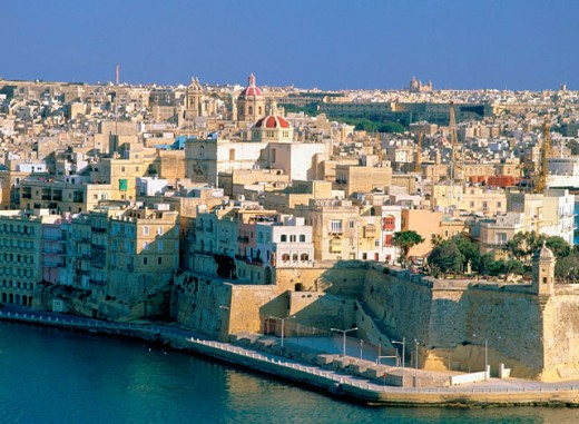 Stock Photo: 1566-0126532 Valletta, view of Senglea from upper Barracca Gardens. Malta