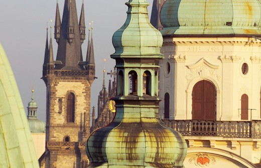 Stock Photo: 1566-0126655 Old town from Charles Bridge gate tower. Prague. Czech Republic