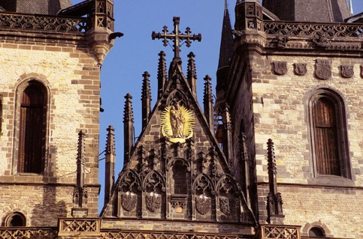 Stock Photo: 1566-0126660 Tyn Church detail, Staromestské Namesti (Old Town Square). Prague. Czech Republic