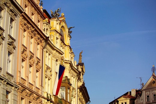 Stock Photo: 1566-0126664 Czech flag at Staromestské Namesti (Old Town Square). Prague. Czech Republic
