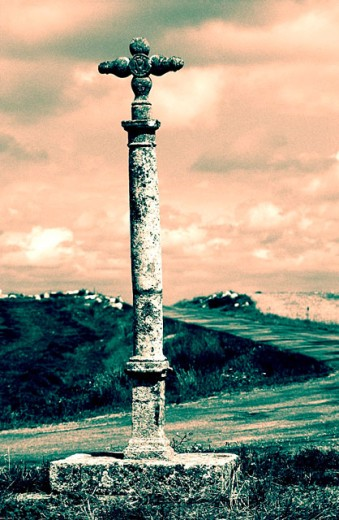 Marker post, road to Santiago. Burgos province. Spain : Stock Photo