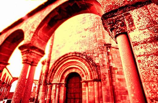 Detail of Romanesque church of Santa María de Eunate, 12th century. Road to Santiago, Navarre. Spain : Stock Photo