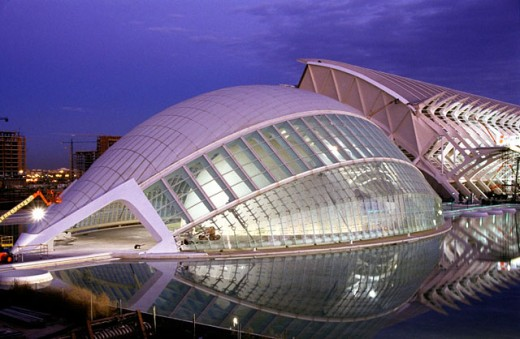 Hemisferic (planetarium and cinema) under construction, City of Arts and Sciences, by S. Calatrava. Valencia. Spain : Stock Photo