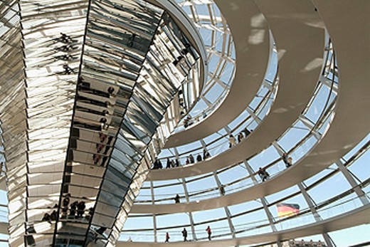 Stock Photo: 1566-0130009 Glass dome of the Reichstag (seat of Bundestag or German Parliament), part of building reconstruction by Sir Norman Foster (1992-1999). Tiergarten, Berlin. Germany