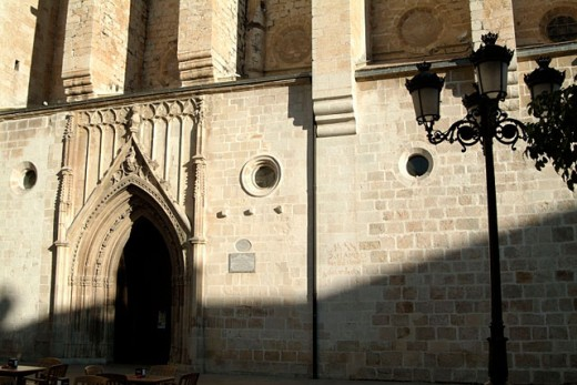 Collegiate Church (14th - 15th cent., Catalan-Aragon Gothic Style). Main Door. Declared National Artistic Monument in 1931. Gandía, la Safor District, Valencian Community. Spain : Stock Photo