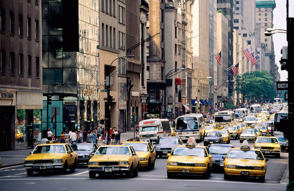 Taxis at Fifth Avenue. Manhattan. New York City. USA : Stock Photo