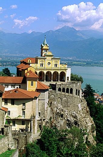 Madonna del Sasso church and Maggiore Lake in background. Locarno. Tessin. Switzerland : Stock Photo