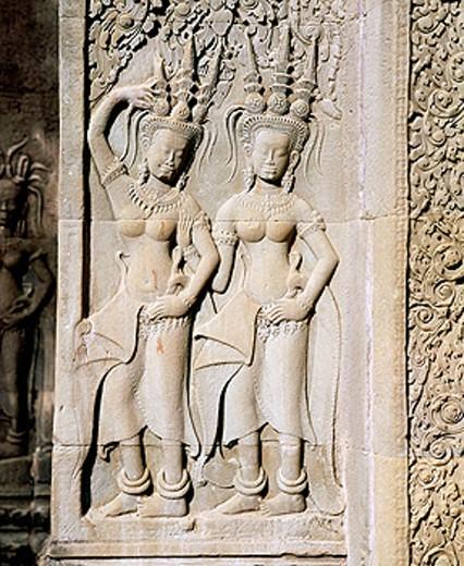 Stock Photo: 1566-0131159 Sculpture of nymphs at temple complex of Angkor Wat. Angkor. Cambodia
