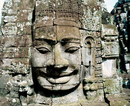 Stock Photo: 1566-0131180 Sculpture in Bayon Temple in Angkor. Asia