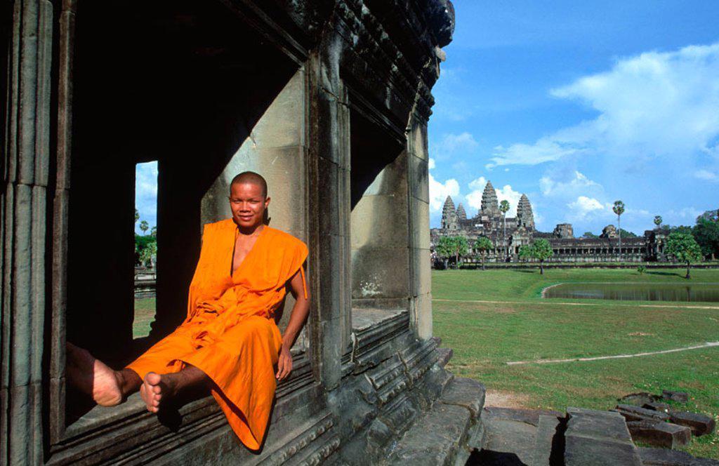 Stock Photo: 1566-0131189 Monk at Angkor Wat Temple. Cambodia