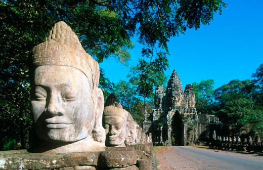 Stock Photo: 1566-0131194 Angkor Thom. South Gate. Angkor. Cambodia