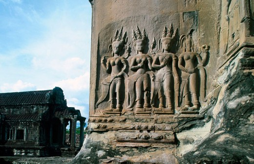 Reliefs in Angkor Wat Temple. Angkor. Cambodia : Stock Photo