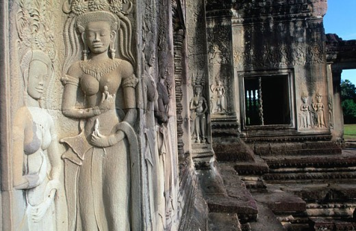 Stock Photo: 1566-0131228 Sculpture in Angkor Wat Temple. Angkor. Siem Reap. Cambodia