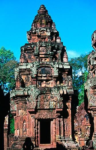 Stock Photo: 1566-0131250 Banteay Srei Temple in Angkor. Cambodia