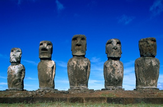 Group of moais at Ahu Tongariki in Easter Island. Chile : Stock Photo