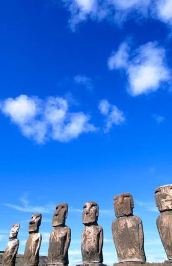Moai at Ahu Tongariki. Easter Island. Chile : Stock Photo