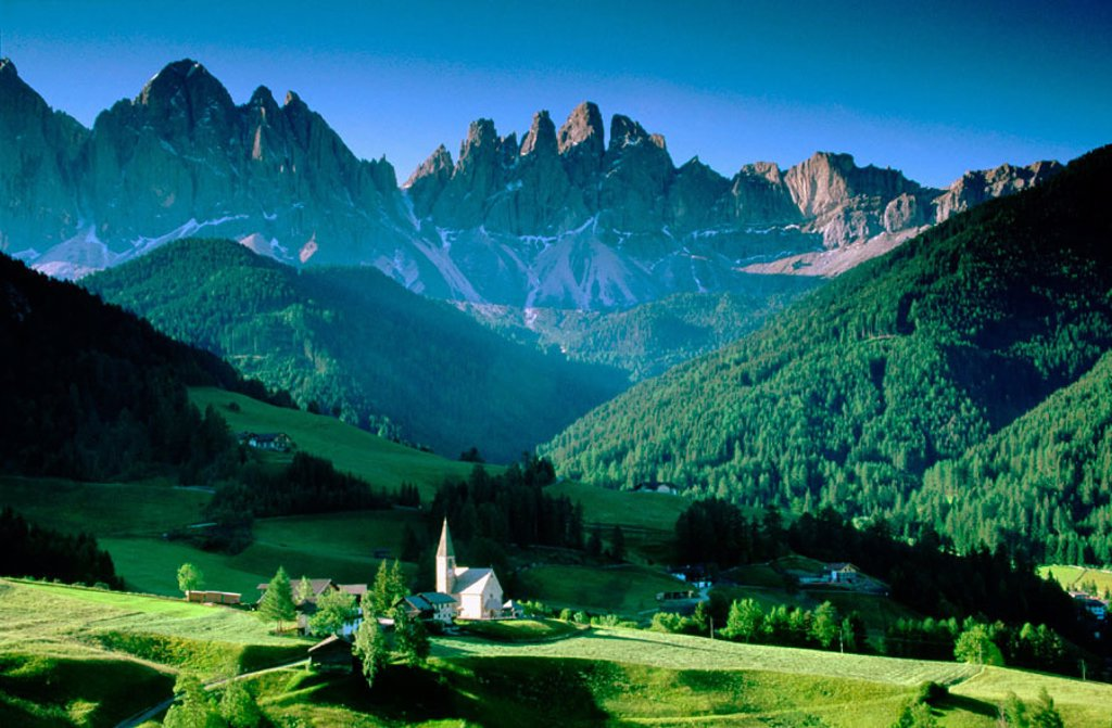 Santa Maddalena and Odle Group. Val di Funes. Italy : Stock Photo