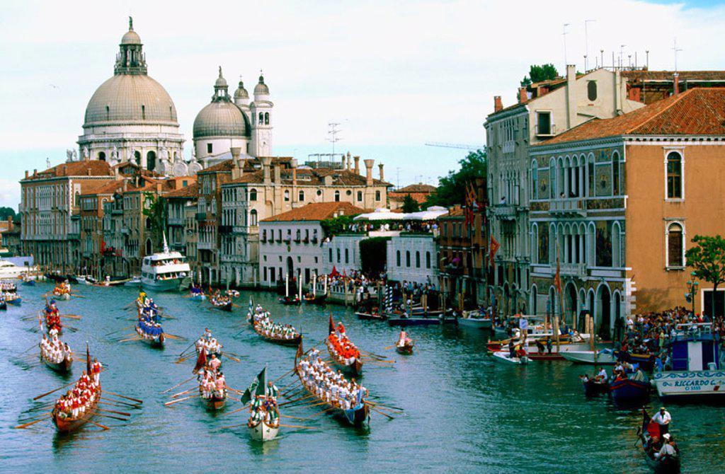 Stock Photo: 1566-0131473 ´Regata Storica´ (Historical boats parade) on Grand Canal. Venice. Italy