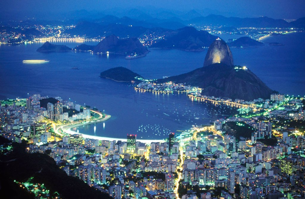 Rio de Janeiro viewed from Mount Corcovado at night. Brazil : Stock Photo