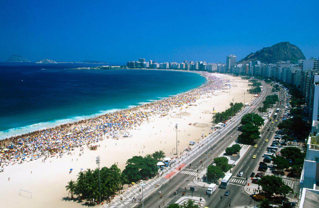 Stock Photo: 1566-0131852 The Beach of Copacabana. Rio de Janeiro. Brazil
