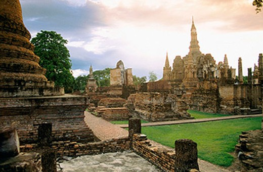 Overview. Wat Mahathat. Sukhotai. Thailand : Stock Photo