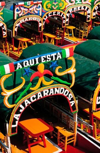 Stock Photo: 1566-0132638 Trajineras (traditional ornated rafts). Xochimilco. Mexico