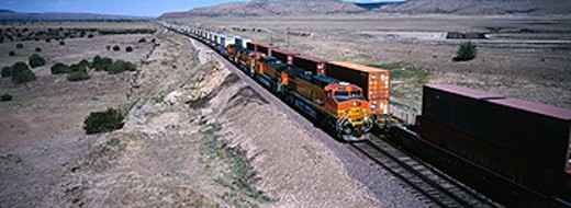 Stock Photo: 1566-0133545 Express container freight train. Arizona. USA