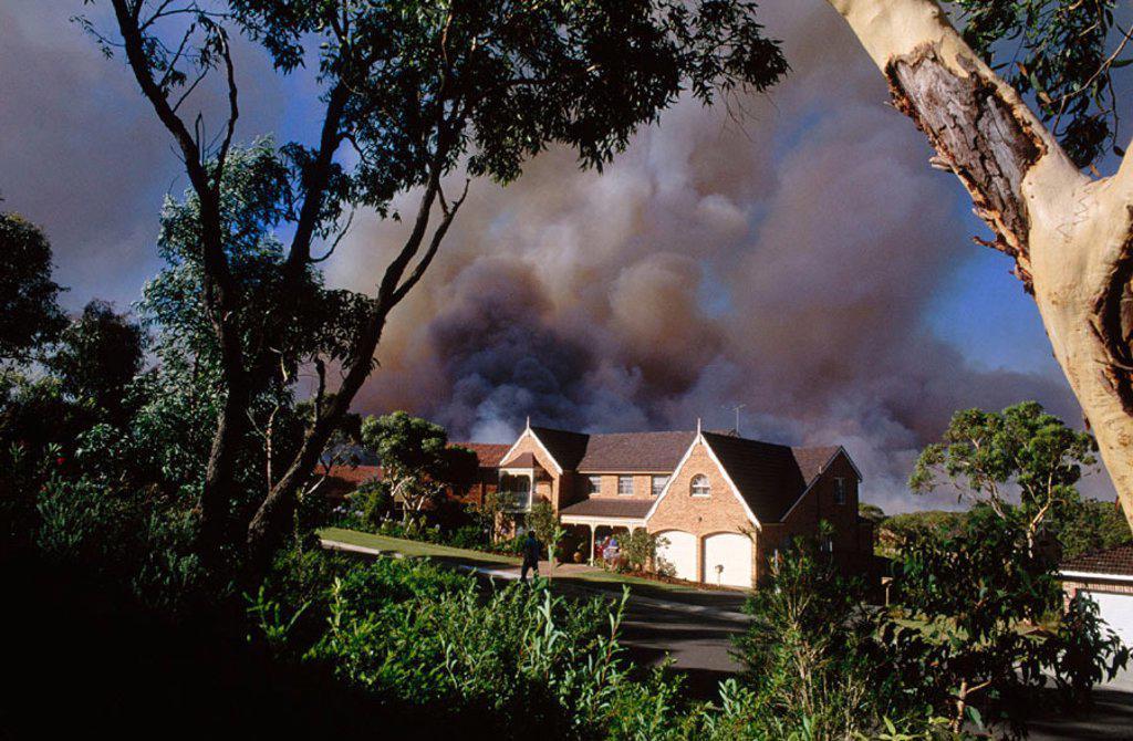 Stock Photo: 1566-0133704 Fire threatening homes. Australia