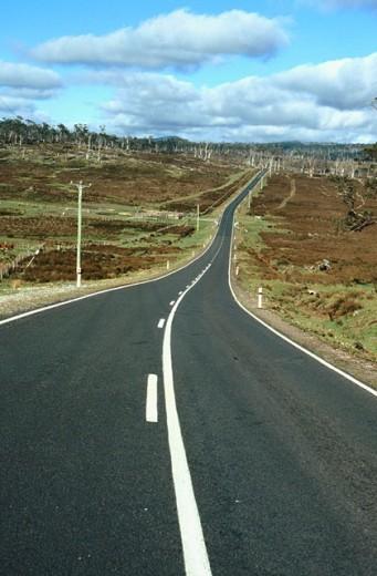 Winding undulating highway. : Stock Photo