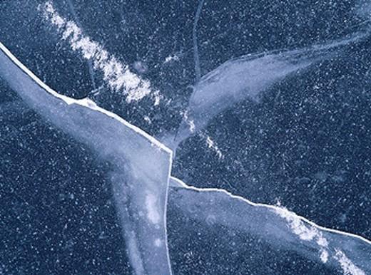 Cracks in ice. Skåne. Sweden : Stock Photo