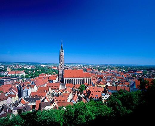 Oldt Town and St. Martin Church. Landshut. Bavaria. Germany : Stock Photo