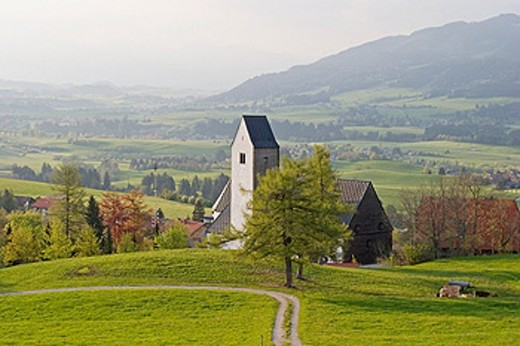 Stock Photo: 1566-0137178 Church of St. Michael in Mittelberg. Allgäu, Germany