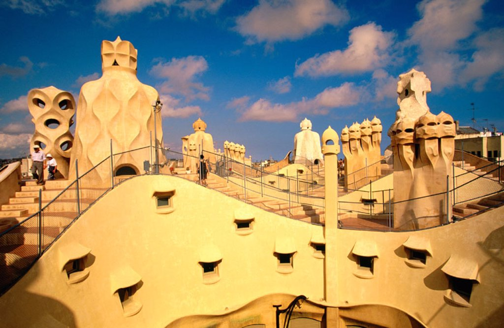 Stock Photo: 1566-0137480 Roof of Casa Mila (aka La Pedrera, 1906-1912), by Gaudi. Barcelona. Spain