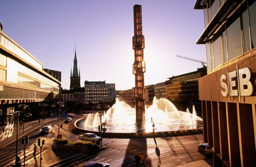 Glass fountain at Sergelstorg square. Stockholm. Sweden : Stock Photo