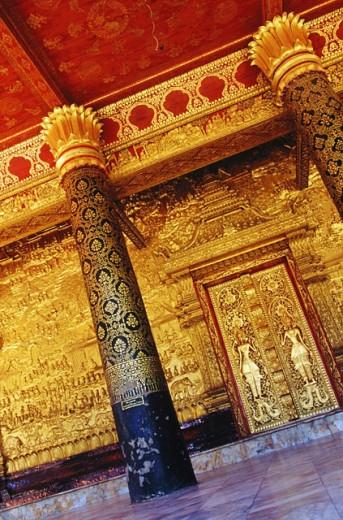 Columns and door on verandah of temple. Luang Prabang. Laos : Stock Photo