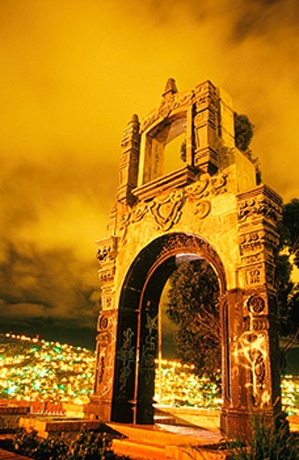 Ornate arch on top of Cerro Quilli. La Paz. Bolivia : Stock Photo