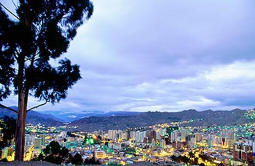 La Paz at dusk. Bolivia : Stock Photo