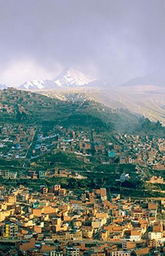 Sunrise over La Paz with Huayna Potosi mountain in background. Bolivia : Stock Photo