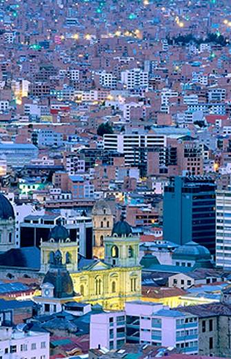 San Francisco church illuminated at dusk. La Paz. Bolivia : Stock Photo